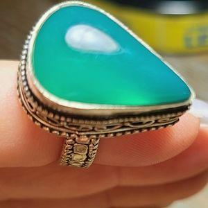 Green Jade silver ring